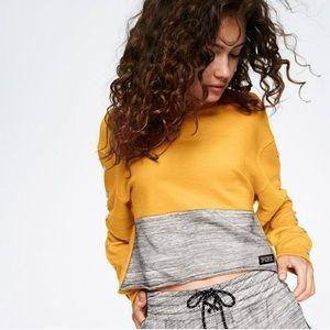 Yellow color block crop sweater